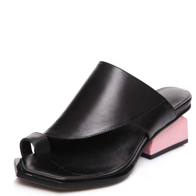 2019 Genuine Leather Mules Female Shoes Woman Flip Flops Ladies Med Heels Sandals Women Comfort Casual Shoes Women2019 Genuine Leather Mules Female Shoes Woman Flip Flops Ladies Med Heels Sandals Women Comfort Casual Shoes Women