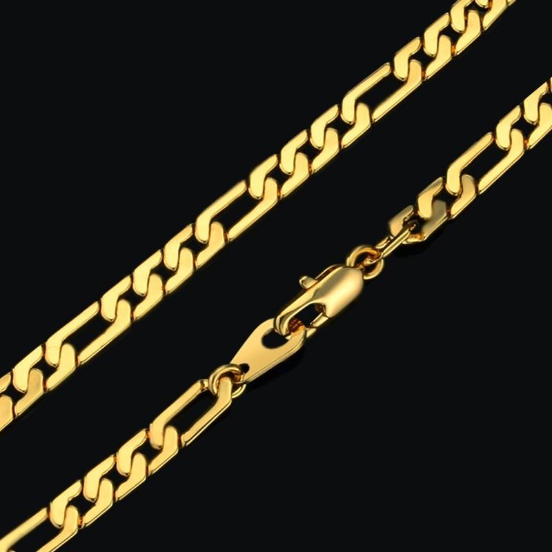 Bracelet Men Jewelry Wholsale Braslet 2017 Male 21cm Gold Color Figaro Chain Link Bracelets Bangles