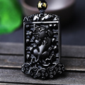 Natural Black Obsidian Carving  PIXIU  pendant free necklace obsidian Blessing Lucky pendants fine jewelry