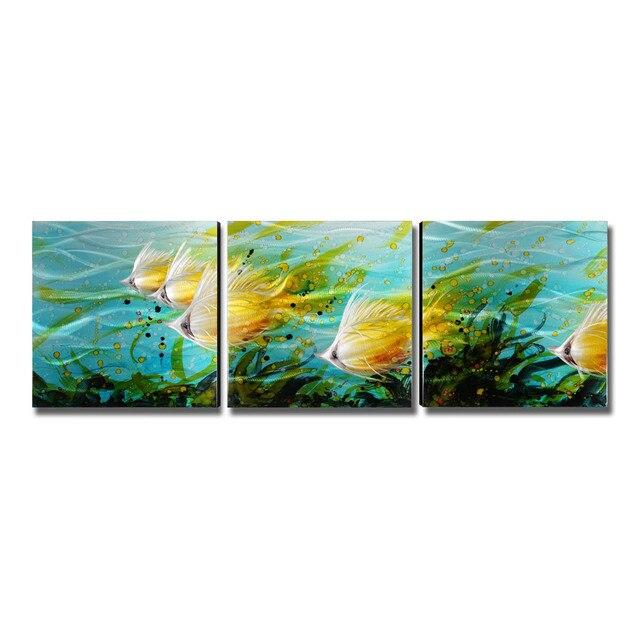 3 Teile/satz Bunte Fische Wandkunst Moderne Malerei Home Decoration 5  Panels Decor Zubehör Für