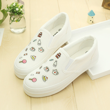 Womens Flats Summer 2016 Breathable Fruit Print Canvas Shoes Espadrilles Creepers Platform White Shoes Women Thick sole Loafers