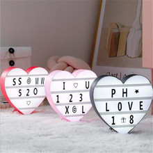 Upgrade Cinema Light Box 3D Love Heart Marquee Night Lamp Letter Lamps Wedding Lover Romantic Decor Light UP Message Board Sign