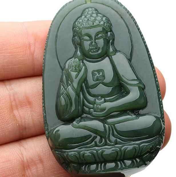 100% Puro Naturale Giada Intaglio A Mano Bodhisattva Sakyamuni Buddha Pendente Della Collana Commercio All'ingrosso