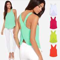 Sexy Six Colors Chiffon Tank Top Round Neck Open Back Cross Suspenders Back Summer Cool S-XXL Plus Size Women Top