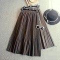 Colorido de lã saias das mulheres cintura elástica um line tee comprimento midi saia vintage plissada saias grossas mulheres