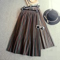 Colorido de lana faldas mujer de cintura elástica una line longitud tee falda de midi vintage plisada faldas gruesas de las mujeres