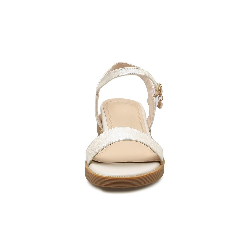 Casual blanc Boucle Beige or 2018 Mode Talons En Véritable noir Arrivée Cuir Femmes Chaussures Confortables D'été Sandales Bas Memunia Nouvelle Femme Rf0P0