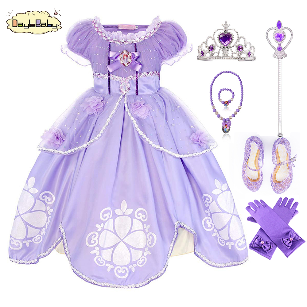 TEAEGG Girl Dress Kids Ruffles Lace Party Custome Dress Sofia Deluxe Costume Fancy Party Dress Outfit with AccessoriesTEAEGG Girl Dress Kids Ruffles Lace Party Custome Dress Sofia Deluxe Costume Fancy Party Dress Outfit with Accessories