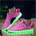 Hombres Zapatos 7 Colores Led Luminoso Led Hombres de Alta Top Zapatos Para Adultos de Carga Usb Led Luces Led Para Arriba Los Zapatos