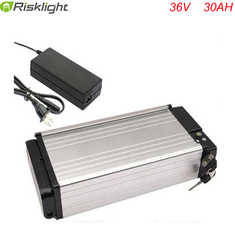 36V 30AH battery electric bike rear rack battery 1000W bike lithium battery power Aluminum with 30A BMS For Samsung cell