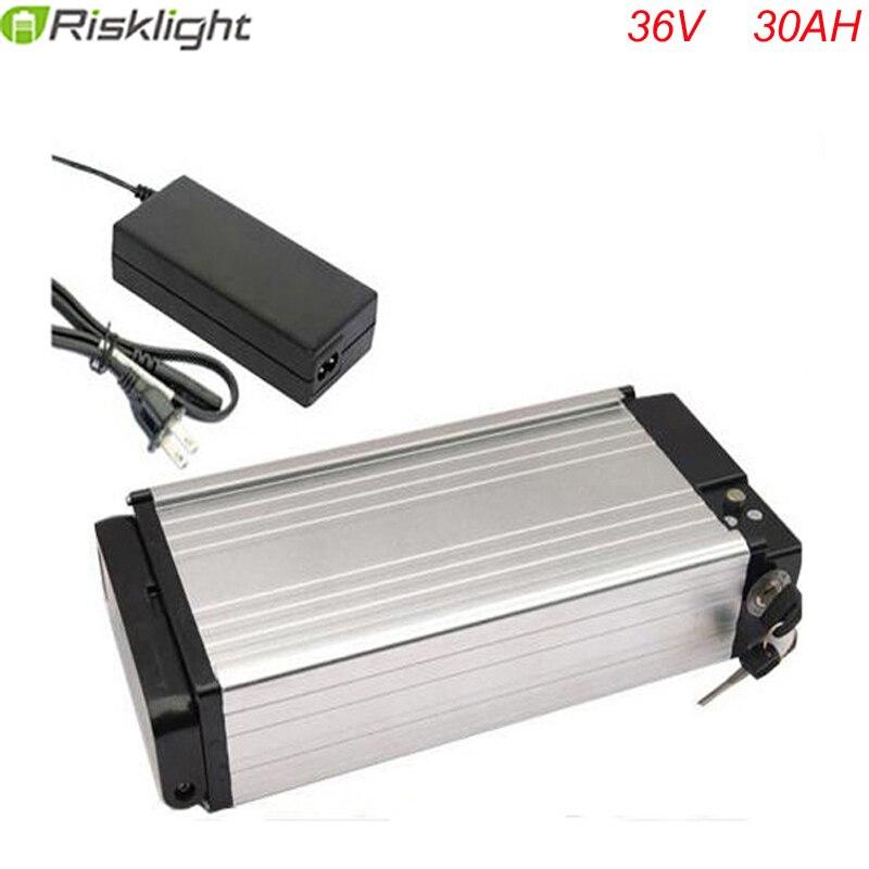 36V 30AH batterie vélo électrique support arrière batterie 1000W vélo batterie au lithium puissance en aluminium avec 30A BMS pour Samsung cell