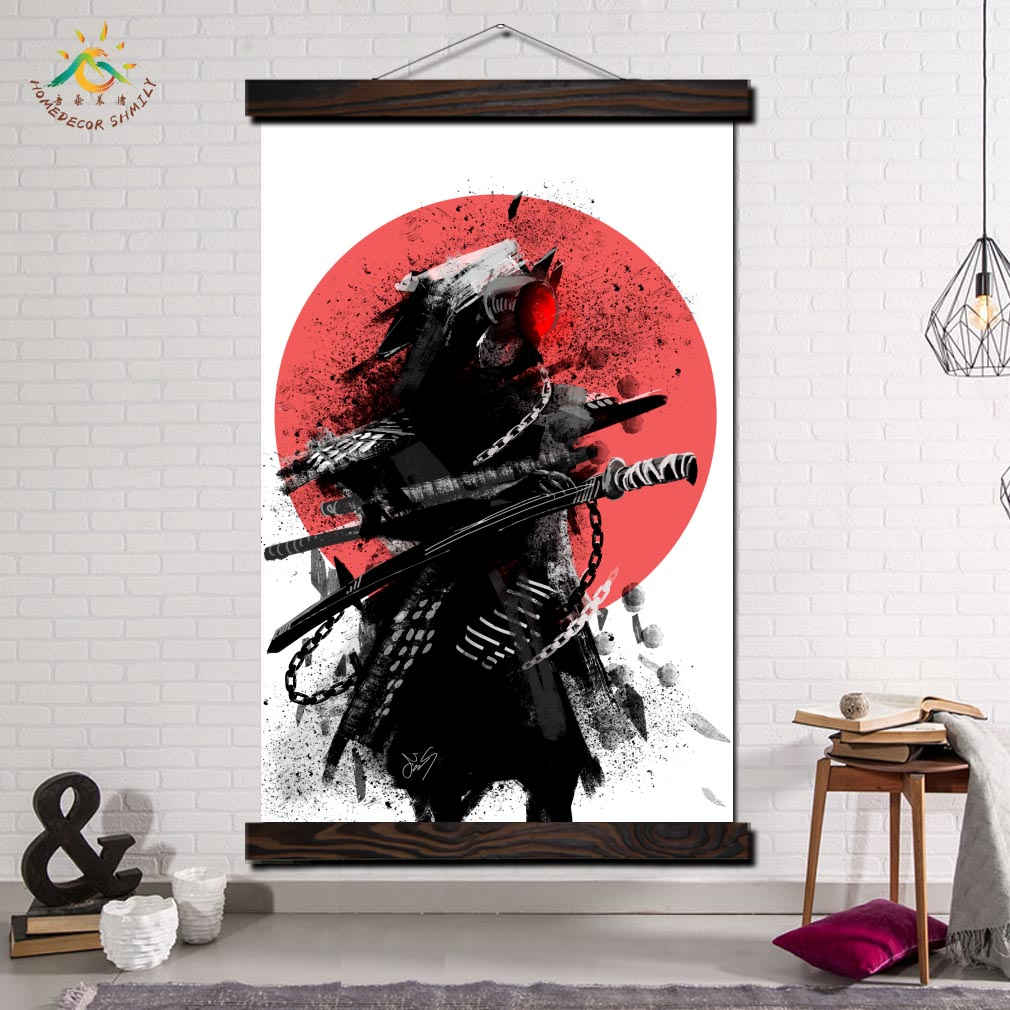 Warrior Samurai Tattoo Modern Canvas Art Prints Poster Wall Painting Scroll Painting Artwork Wall Art Pictures Home Decoration in Painting Calligraphy from Home Garden
