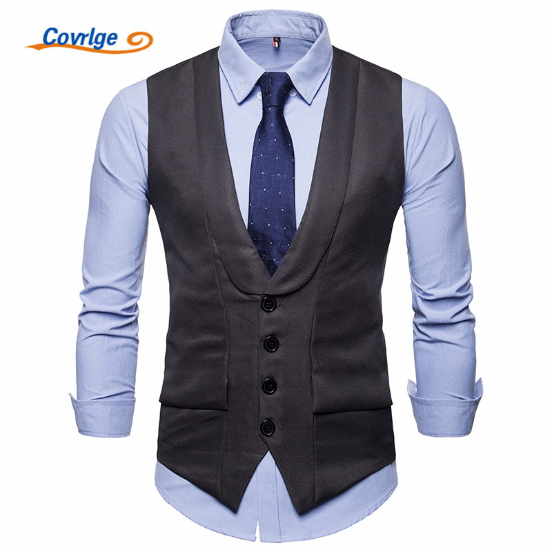 Covrlge Dress High-quality Goods Mens Fashion Design Suit Vest / Grey Black High-end Business Casual MWX028