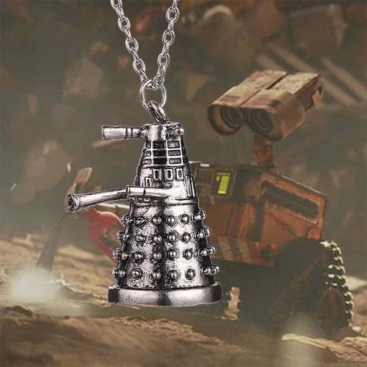 Dr Doctor Who Dalek Necklace Vintage Alien Robot Antique Silver Pendant Jewelry Movie Necklaces For Gifts Cosplay Accessory Prop image