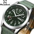 2016 Readeel lujo reloj militar marca hombres reloj análogo de cuarzo del reloj reloj lienzo cuero deportes del hombre del ejército relojes montre femme cuir