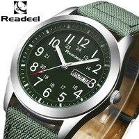 2016 Readeel Luxury Brand Military Watch Men Quartz Analog Clock Leather Canvas Watch Man Sports Watches