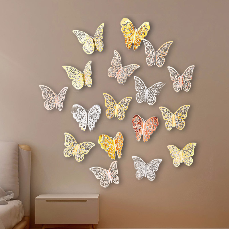 12Pcs/set 4.5-12cm Gold Silver Realistic Wall Stickers Butterfly Children's Room Sticker Wedding Party Home Decoration Supplies
