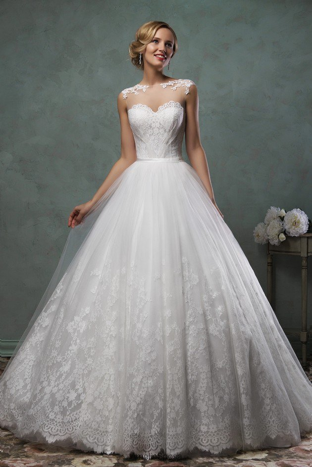 princess gorgeous bridal dresses ball gown wedding dresses lace illusion bridal shower gownschina