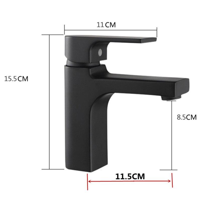 Высококачественный кран для ванной комнаты, Черный Твердый латунный кран для ванной комнаты, кран для раковины, смеситель для холодной и го... - 5