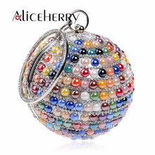 Women Evening Bag Diamond Round Clutch Purse Bags Party Prom Handbag for Ladies Girls Blue Colour Red White xiyuan brand women red blue coin purse clutch bags for phone luxury women party evening bags ladies wedding clutch mini purse