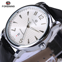 Forsining 2017 Fashion Business White Dial Designer Leather Mens Watches Top Brand Luxury Automatic Mechanical Watch