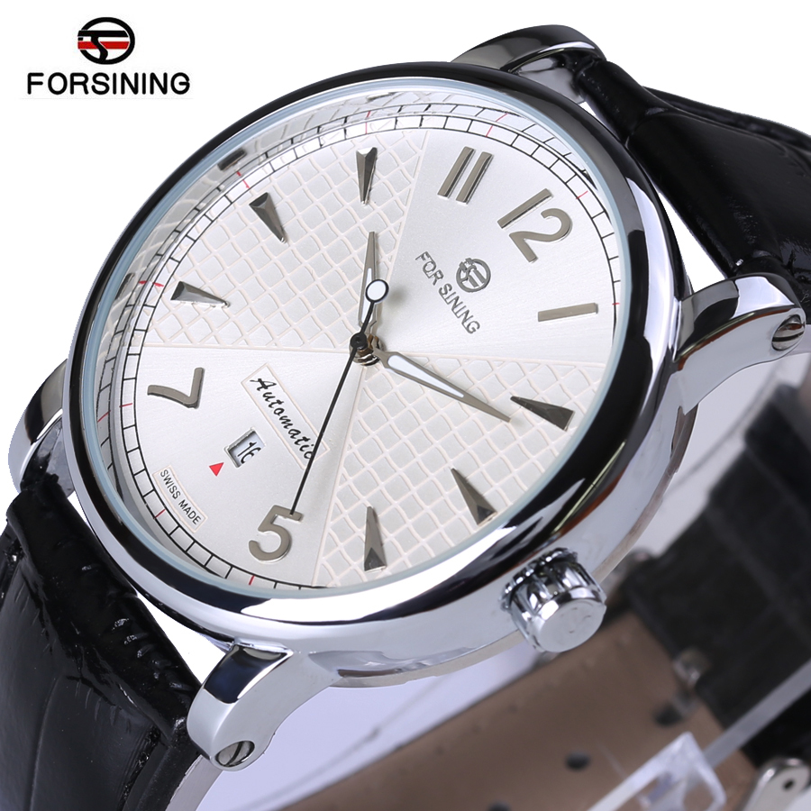 Forsining 2018 Fashion Business White Dial Designer Leather Mens Watches Top Brand Luxury Automatic Mechanical Watch Clock Men fashion fngeen brand simple gridding texture dial automatic mechanical men business wrist watch calender display clock 6608g