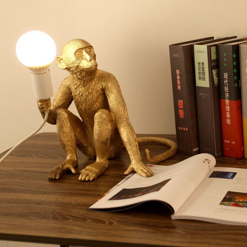 Résine or noir singe lustre éclairage résine Loft chanvre corde suspension Luminaires Bar café comprend E27 Luminaires
