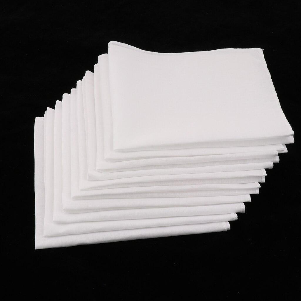 10X Solid White Pocket Cotton Handkerchiefs Hankie Hanky Towel 28*28cm Women//Men