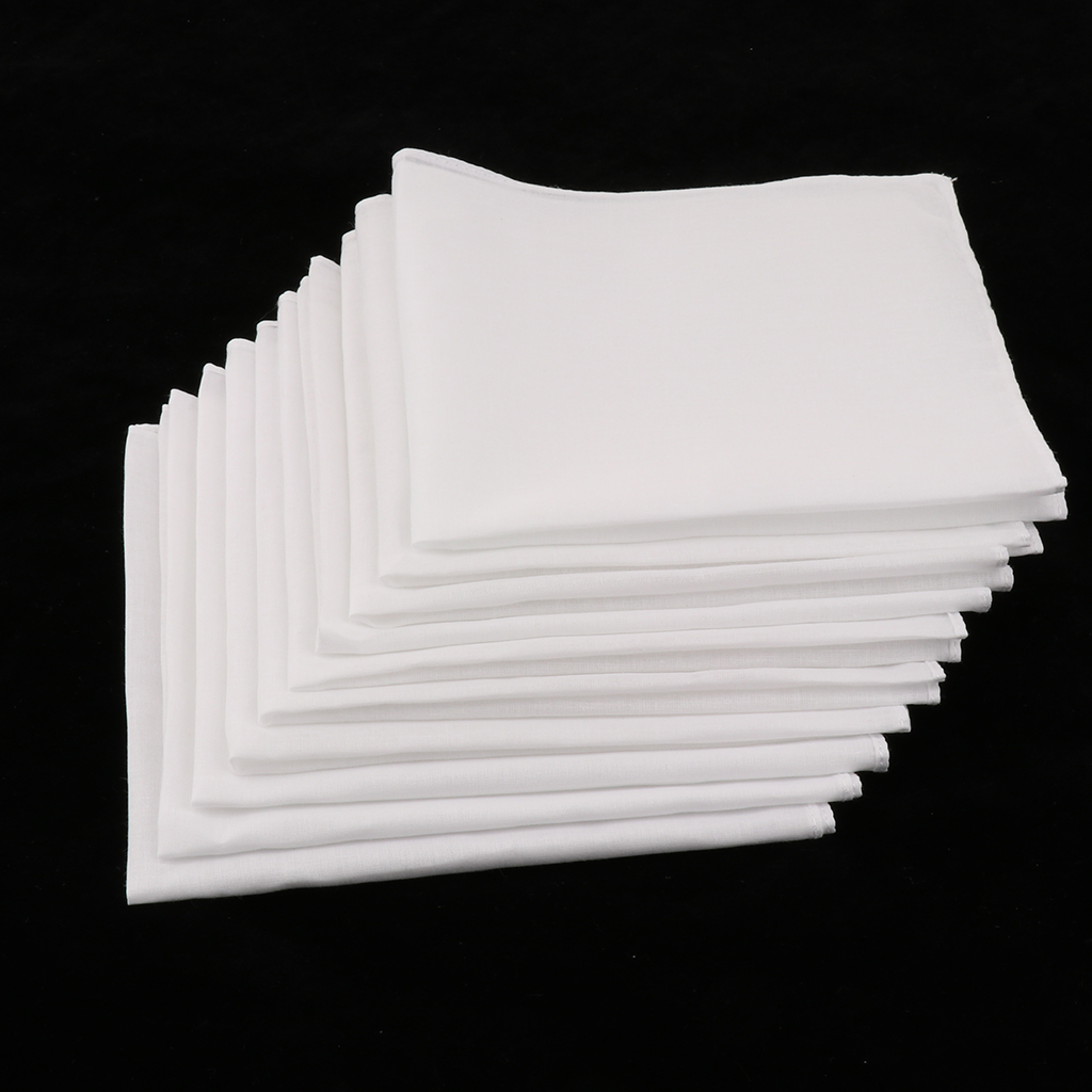 10pcs 100% Cotton Pocket Square White Solid Handkerchief Blank Chest Towel Prom Holiday Party Suit Hankie Vintage Gift Hankies