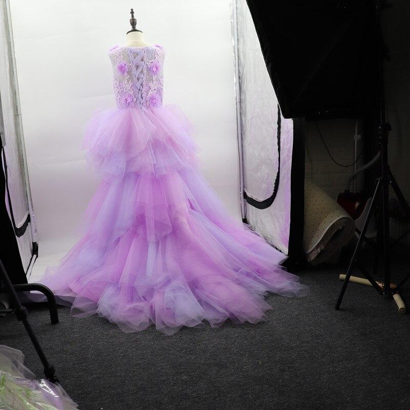 Fantaisie fleur fille robe avec Train 2019 enfants montrent Performance Costume enfants longue sirène Tulle rose robes Boutique vêtements - 6