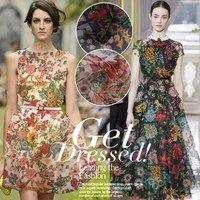 Vroege zomer bloeiende zijde voile organza zijden stoffen stoffen kleding groothandel zijden jurk stof