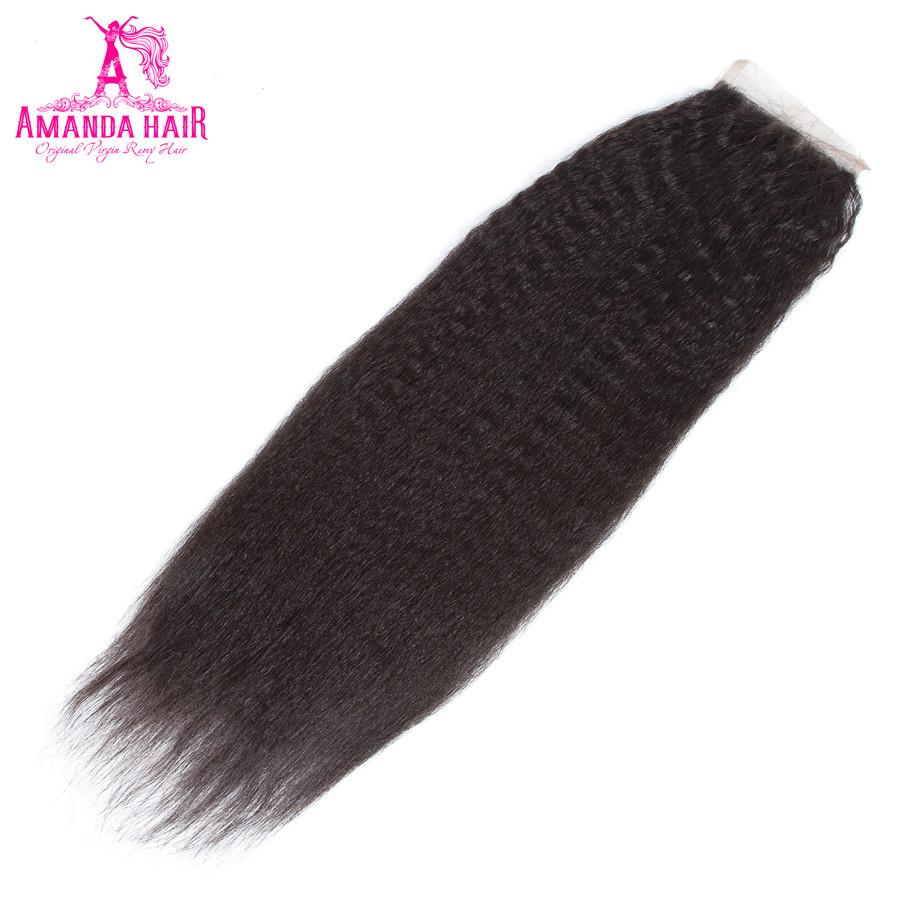 Amanda Kinky Straight Peruvian Remy Hair Lace Closure 4x4 Free Part Avaialble Hair Closure With Baby Hair Natural Hairline