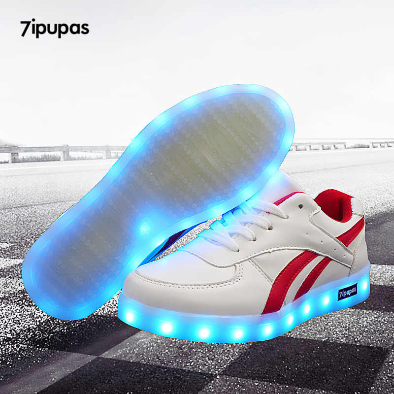 7ipupas 2018 Red twill Basket light up sneakers boy girl shoes led schoenen casual kid homme luminous sneakers Unisex Chaussures
