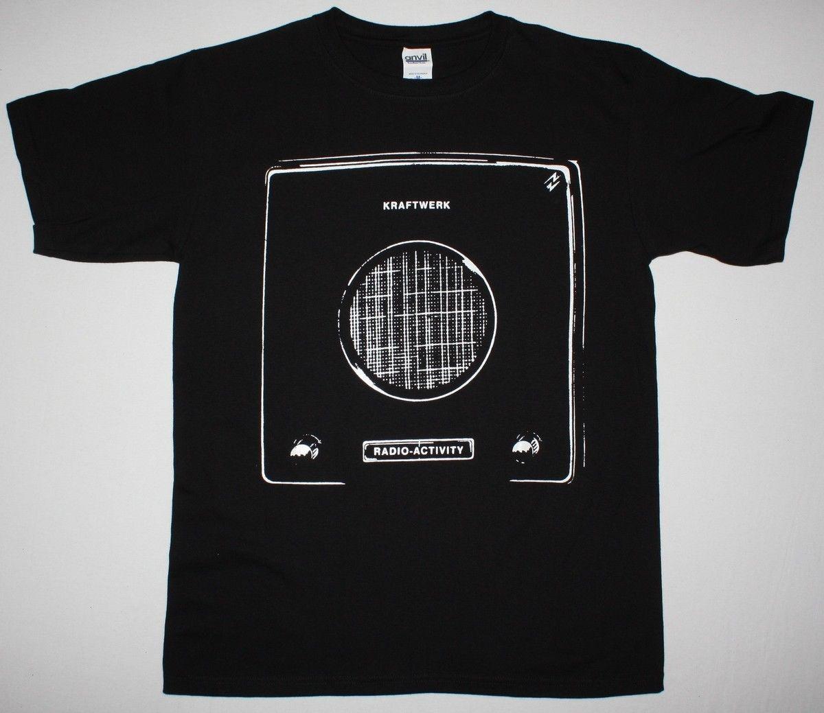 KRAFTWERK RADIO ACTIVITY BLACK T SHIRT ELECTRONIC SYNTH POP NEU! ULTRAVOX Short Sleeve Round Neck T-Shirt Promotion Top Tee