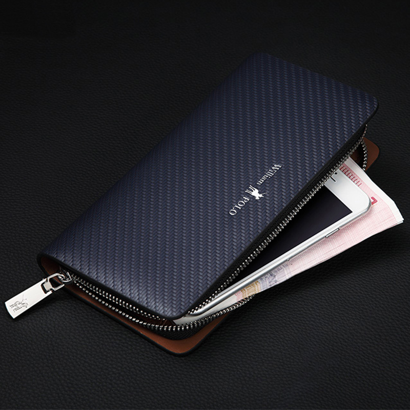 New Genuine Leather Men Wallets Man Famous Brand Long Portomonee With Zipper Clutch Bags Male Purses Card Holder Walet PL118 baellerry top pu leather men wallets and purses coin purse man famous small short portomonee mini male purses card holder walet