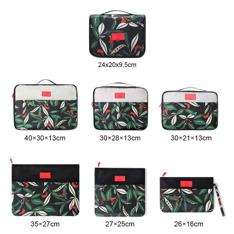 7 pcs Padrão Floral Conjunto Saco De Armazenamento De Bagagem de Viagem Mala Organizador Embalagem Cubos Sapato Lavanderia Bolsa com Saco De Higiene