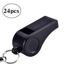24 шт Пластиковые громкие свистки для экстренных рефери тренера тренировочный Спорт с свистками шнура(черный