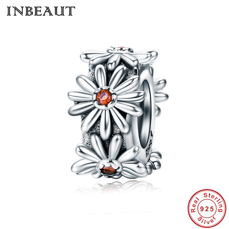 INBEAUT Hot Sale 925 Sterling Silver Brown Cubic Zirconia Centred Stone Sun Flowers Pendant Beads fit Pandora Charm Bracelet