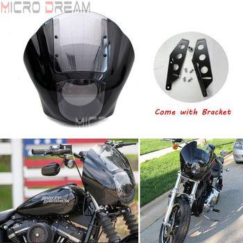 Motorcycle Quarter Headlight Fairing Clear Windscreen w/ Bracket Kit For Harley FXR Sportster 1200 Iron 883 XL883N 1988-2016