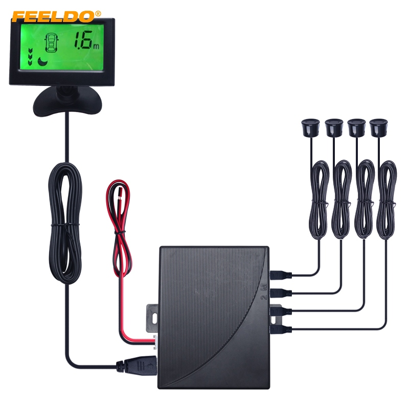 FEELDO voiture 3-Stage arrière-plan couleur alarme LCD moniteur sauvegarde aide au stationnement capteur système