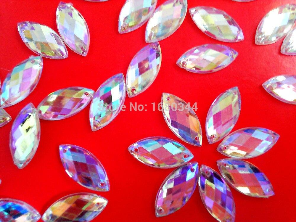 Пришить камни Crystal Clear AB Цвет Стразы Наветт форма 9*20 мм драгоценных камней ручная швейная для платье 100 шт./лот