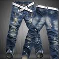 10 unids/lote LP65 envío libre 2015 hombres de la pierna recta pantalones de mezclilla hombres pantalones vaqueros de la marca de moda para hombre de negocios pantalones vaqueros negros hombres
