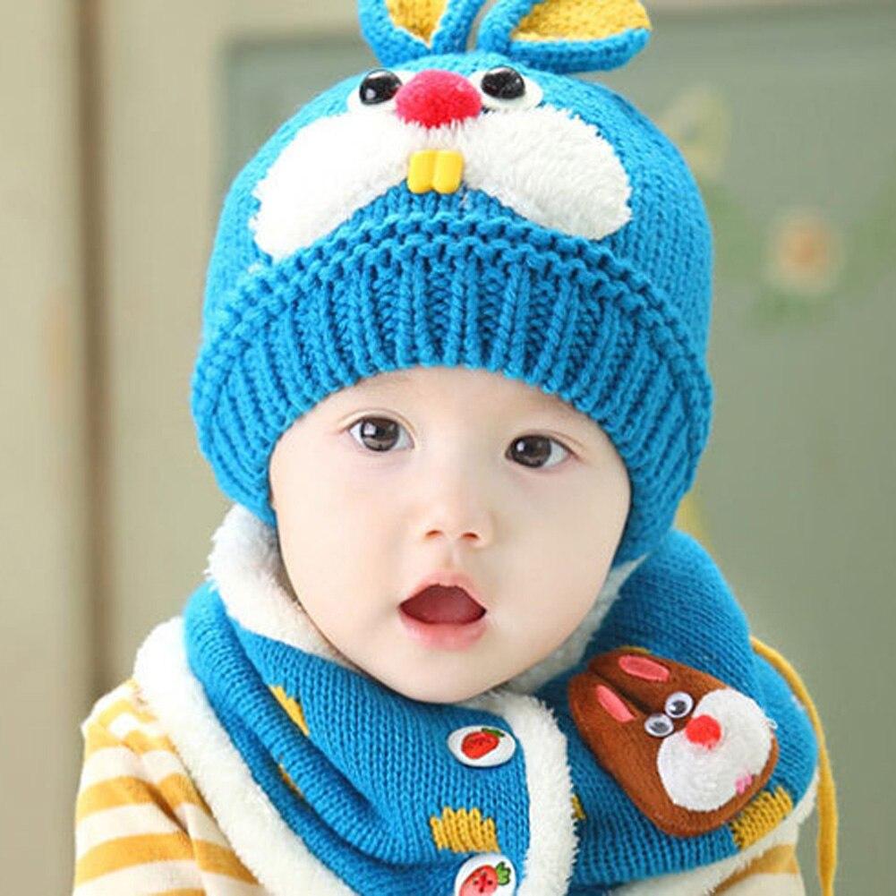 Winter Warm Baby Knitted Hat Cute Rabbit Ear Infant Boy Girl Crochet Beanie Cap Scarf Set Cartoon Earflap Toddler Hats Skullies