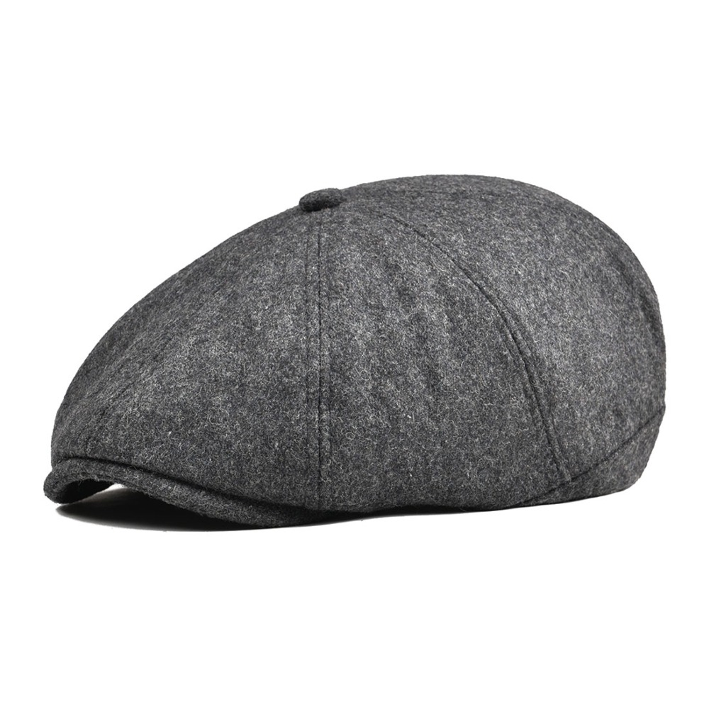 Men's Newsboy Caps Botvela Wool Tweed Navy Blue Herringbone Newsboy Cap Men 8-quarter Panel Cabbie Flat Caps Women Driver Beret Hat 005