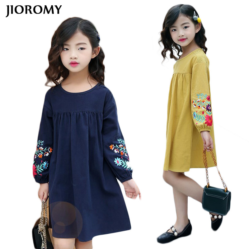 JIOROMY Girls Embroidered Long Sleeves Dress 2018 Spring and Autumn New Large Girls Cotton Doll Dress Children Korean Dress simple women s dolman sleeves floral embroidered dress