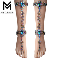MYDANER 1 Pcs/1 Pair Women Luxury Crystal Bohemian Summer Anklets Bracelets Sexy Leg Anklets Long Foot Chain Statement Jewelry