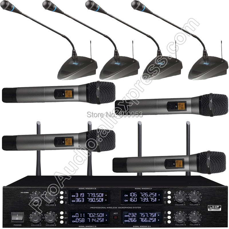Pro 4 Handheld 4 Tabletop Gooseneck Wireless Digital Conference Microphone System UHF Adjustable Frequency 400 Channel