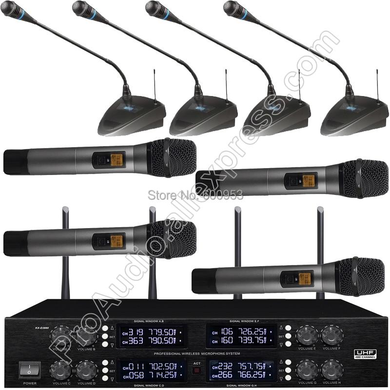 все цены на Pro 4 Handheld 4 Tabletop Gooseneck Wireless Digital Conference Microphone System UHF Adjustable frequency 400 Channel онлайн