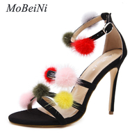 MoBeiQI Fashion Style women's high heels ladies Buckle Strap sandals shoes Ball decoration Concise woman shoes US5 9 Black