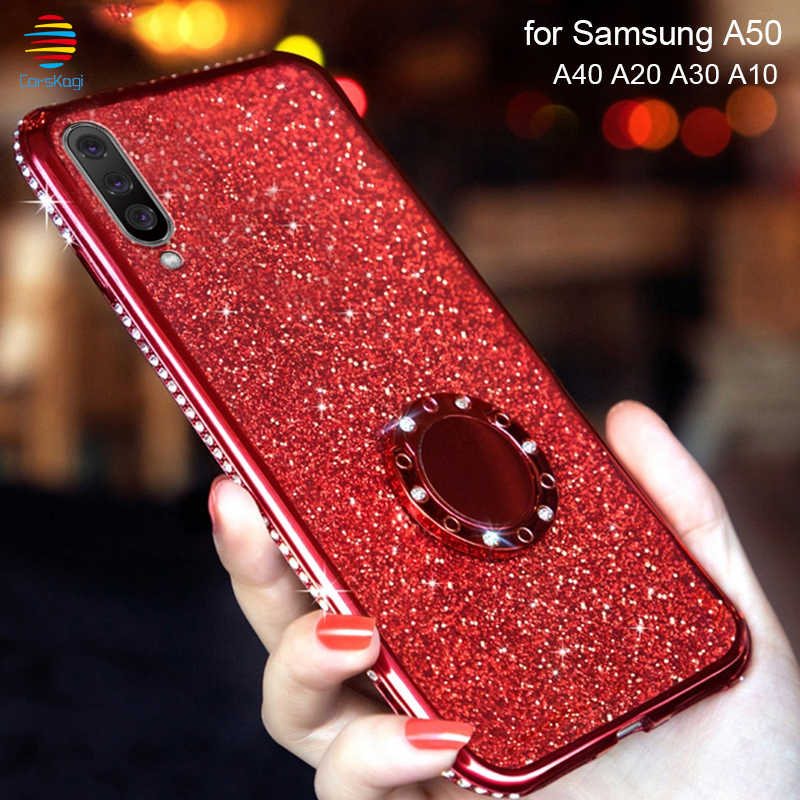 Ring Car Holder Case for Samsung Galaxy A10 A20 A30 A40 A50 Soft Glitter M10 A6 A7 A8 2018 S10 S8 S9 Plus 360 Note 9 Bling Case